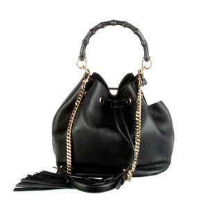 GUCCI MISS BAMBOO BUCKET BAG BLACK PEBBLED LEATHER